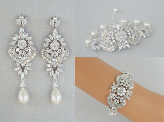 Crystal Bridal Earrings Jewelry Set Wedding Bracelet Long Chandelier Swarovski Pearl London