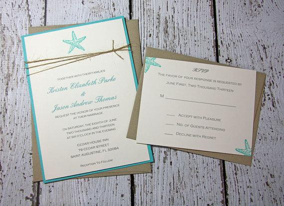 Sample Starfish Wedding Invitations Beach Invitation