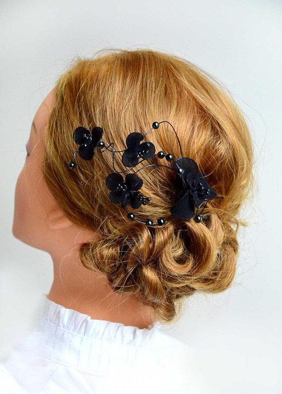 floral headpiece bridal hair clip black headpiece wedding fascinator wedding hair accessories hair pin