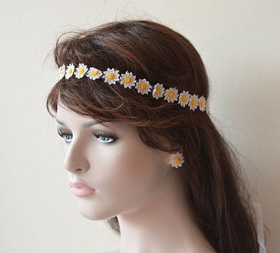 wedding hair accessories wedding crochet daisy flower headband flower girl headband boho wedding for women and teens
