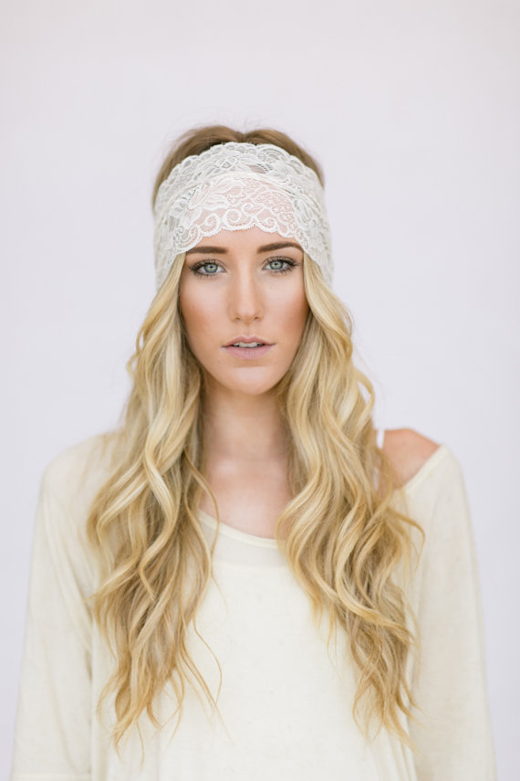 Wide Stretchy Lace Headband Hair Bands Ivory Wedding Lace
