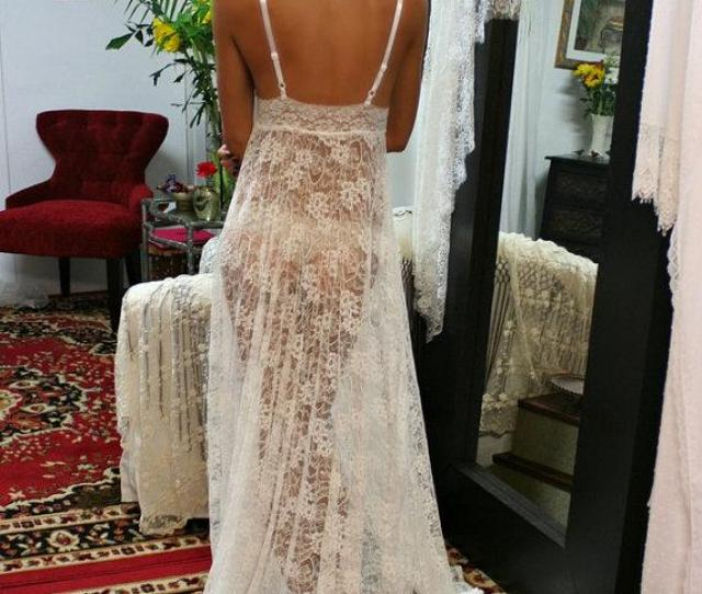 Sheer Lace Bridal Lingerie Nightgown Sleepwear Wedding Nightgown White Lace Nightgown