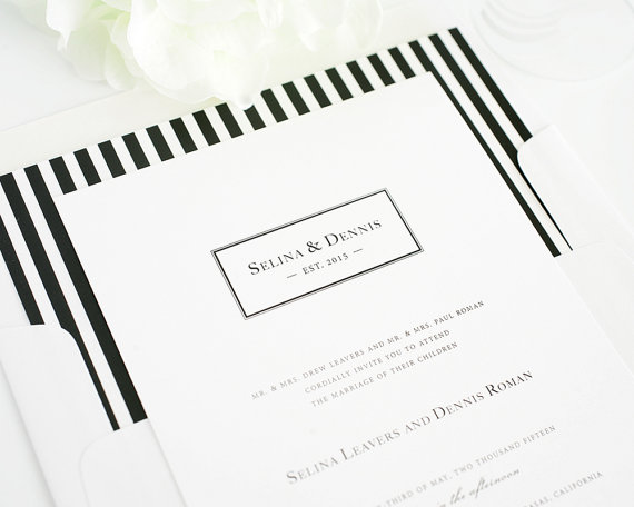 Striped Wedding Invitation Preppy