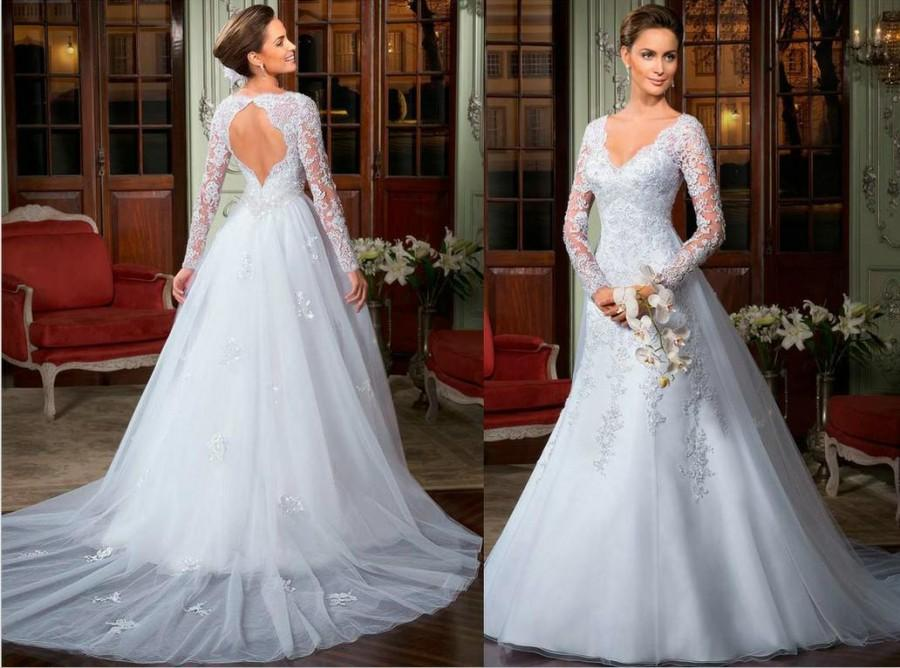 2014 Best-selling A-Line Backless Wedding Dresses Long