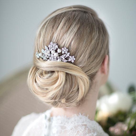 bridal hair comb wedding head piece crystal and pearl haircomb wedding hair accessory