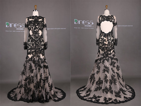 Sexy Black Lace Appliques Mermaid Wedding Dress Long