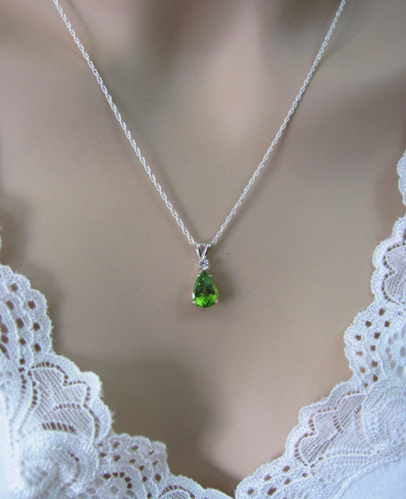Peridot Necklace In Sterling Silver With Topaz Accent10x7