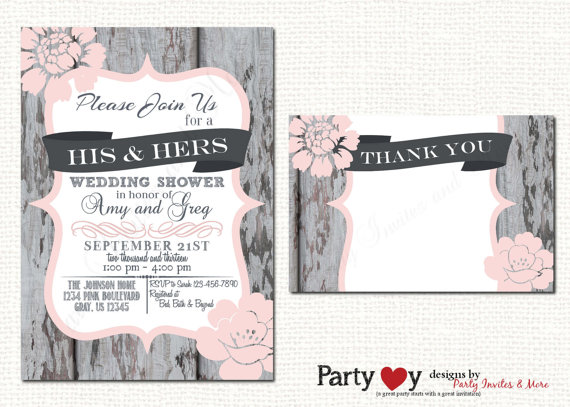 Couple Wedding Shower Invitations Mixed With Pretty Accessories And Design 17