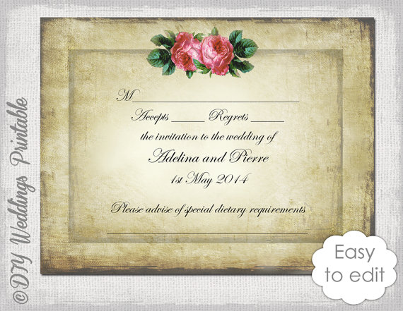 Wedding Response Card Template Hydrangeas Mini Invitation