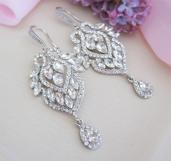 Crystal Bridal Chandelier Earrings Jewelry Bridesmaid Dangle Accessories