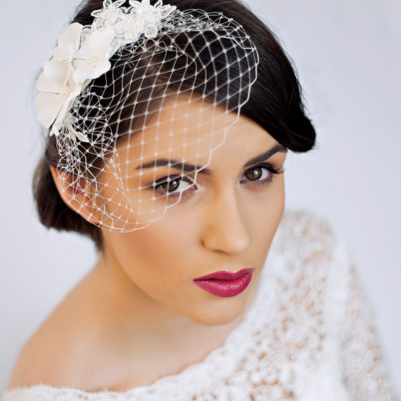 small birdcage veil with cherry blossom in ivory bridal hair piece wedding hair piece