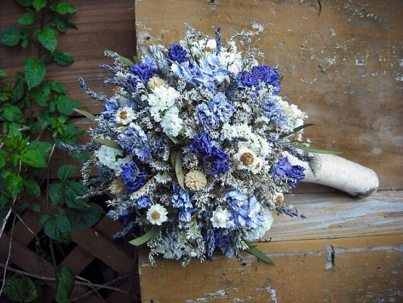 Dried Flower Bridal Bouquet With Birch Holder For Bride Or