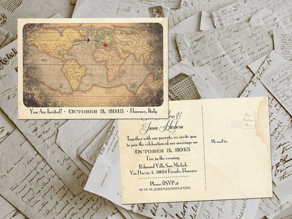 50 Wedding Invitation Postcards Destination Vintage Rustic