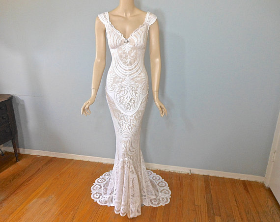 Vintage Inspired Boho Wedding Gown VICTORIAN Lace Wedding