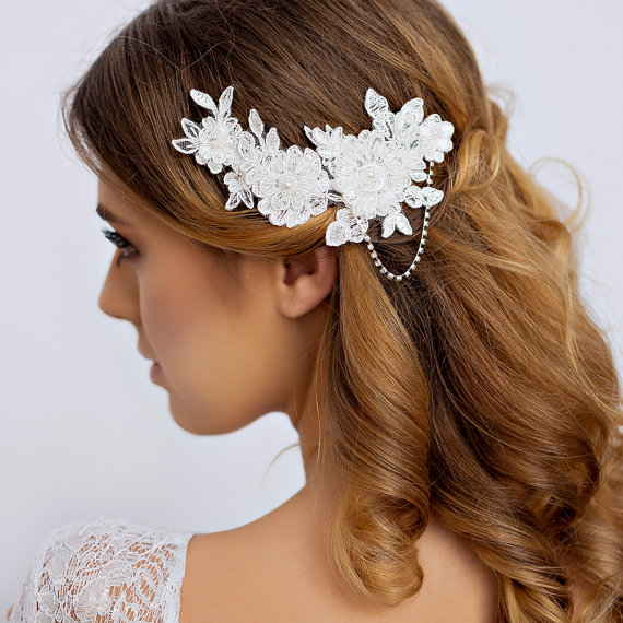 lace bridal hair piece with rhinestone lace wedding hair piece with rhinestone wedding hair accessories