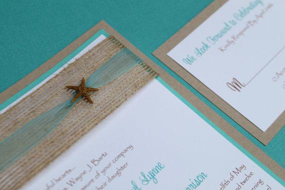 Starfish Wedding Invitations Beach Tropical Destination Hawaii