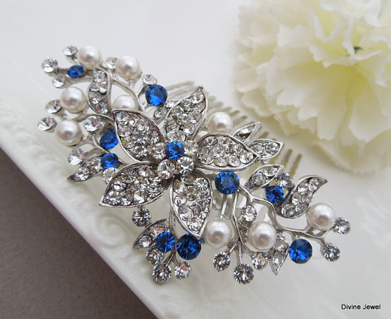 blue swarovski crystal and pearl wedding comb wedding hair accessories vintage style flower and leaf rhinestone bridal hair comb pearl katy