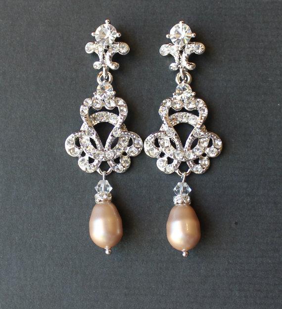 Bridal Crystal Chandelier Earrings Wedding Jewelry Vintage Champagne Blush Pearl Celine