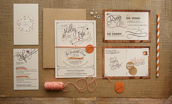 Rustic Fl Wedding Invitations With