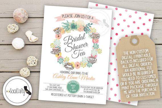 Shabby chic wedding invitations diy paperinvite bridal shower invitation tea party shabby chic succulent filmwisefo