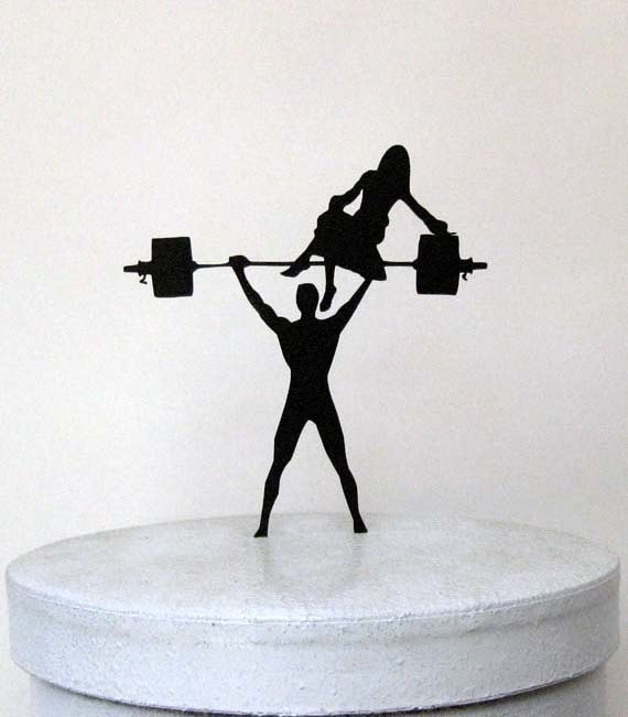 Wedding Cake Topper Your Man Is Strong Weight Lifting