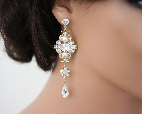 Chandelier Earrings Gold Bridal Swarovski White Ivory Pearl Crystals Vintage Style Wedding Jewelry Leila Grand