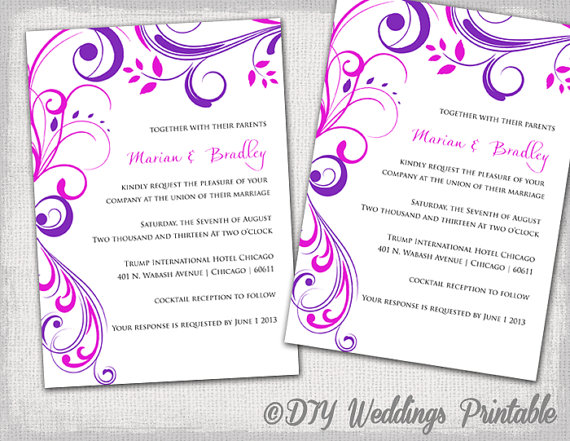 Purple Laser Cut Ivory Ribbon Wedding Invitations Iwsm042
