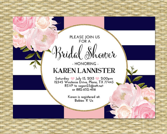 bridal shower invitation navy blue pink gold glitter stripes floral peonies bridal brunch bridal tea birthday party invitation any event 2268710 weddbook