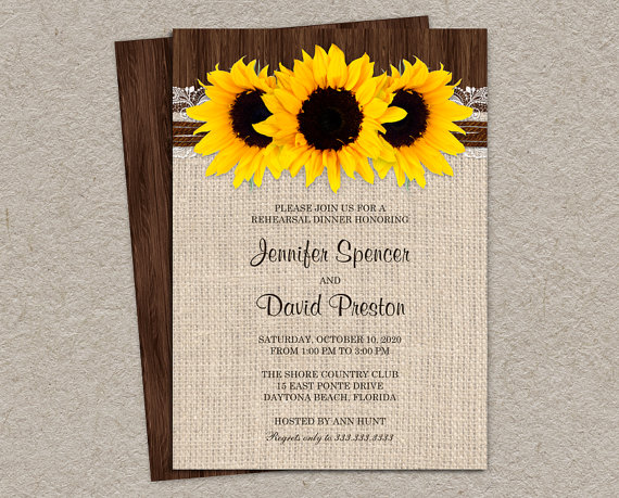 Rustic Sunflower Rehearsal Dinner Invitations Burlap Invitation Cards With Sunflowers Wedding