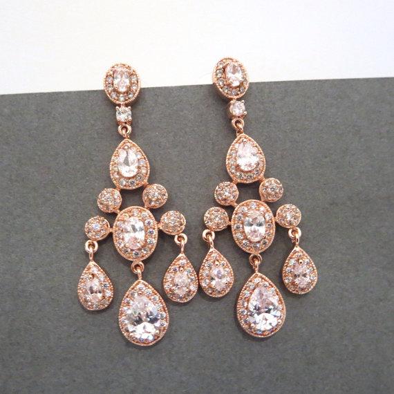 Rose Gold Bridal Earrings Chandelier Wedding Crystal Jewelry Rhinestone