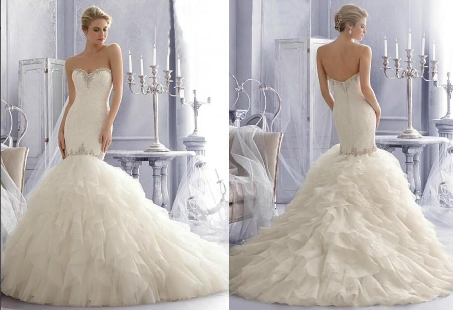 2015 New Beaded Crystal Sweetheart Spring Mermaid Wedding