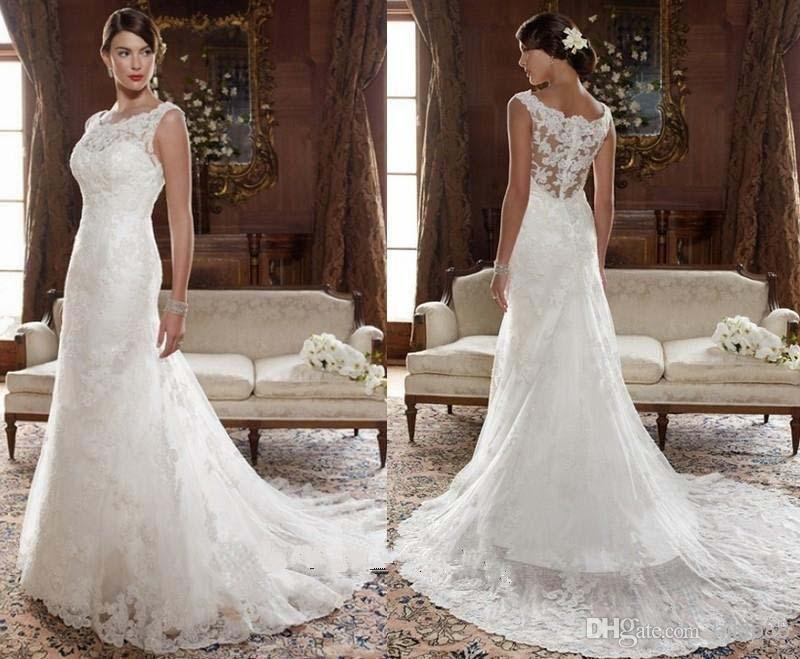 2014 Elegant Sheer Neckline Sweetheart Lace Wedding