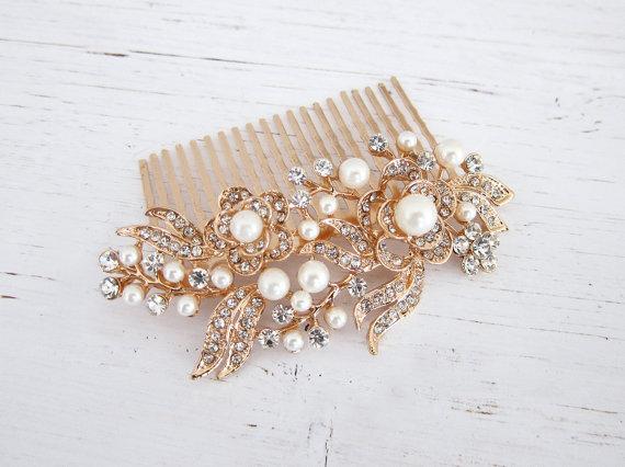 rose gold pearl crystal hair comb vintage bridal haircomb 1920s rose gold hair comb vine haircomb wedding hair comb zahra