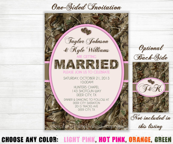 pink camo wedding invitations, Wedding invitations
