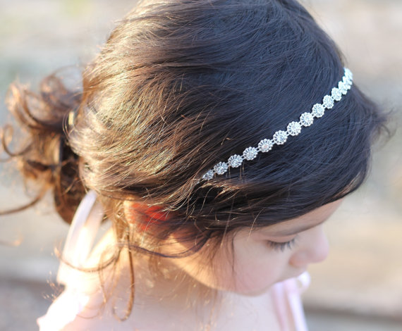 Flower Girl Headband Rhinestone Headpiece Wedding Bridal