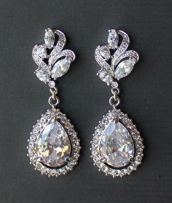 Bridal Crystal Chandelier Earrings Leaf Flower And Jewelry Wedding Tess Befrosted