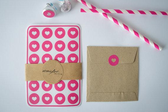 24 Heart Envelope Seals In Fuschia Hot Pink Handmade