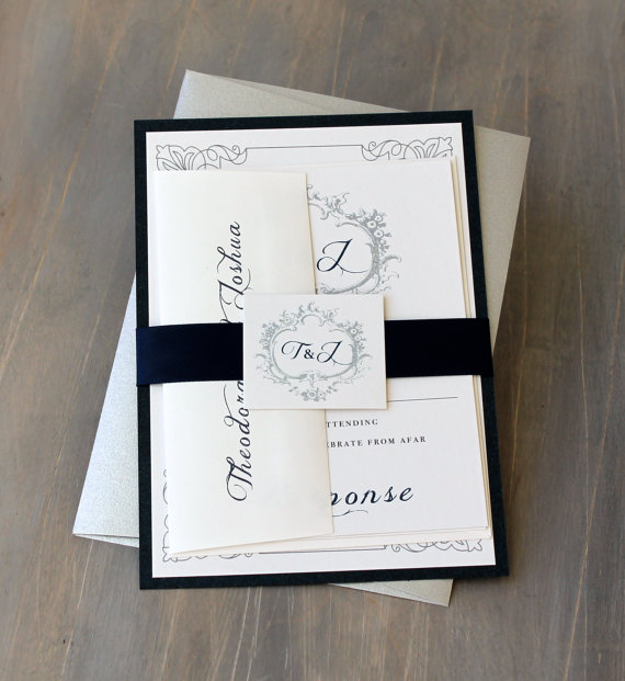 Modern Wedding Invitations With A Peony Envelope Liner