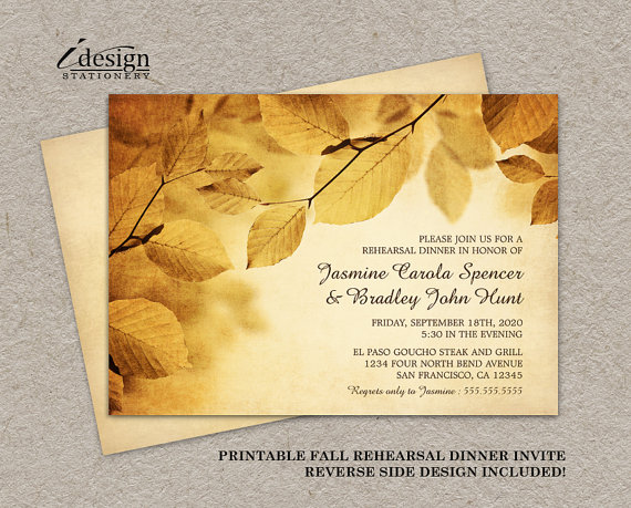 Fall Rehearsal Dinner Invitation With Rustic Leaves Diy Printable Wedding Cards