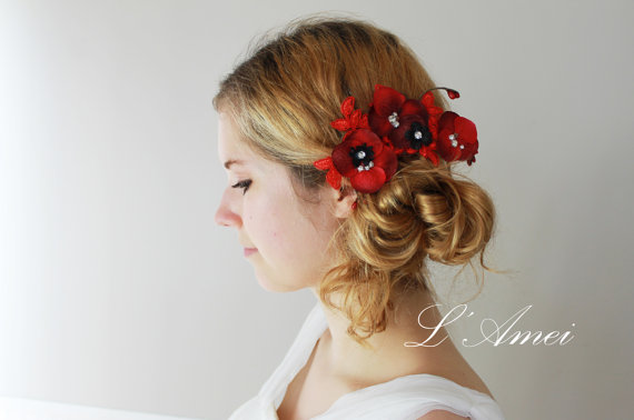 embroidered red lace wedding bridesmaid flower hair clip with rhinestone bridal hair accessory