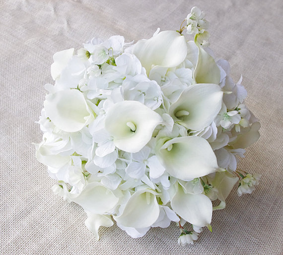 Wedding Bouquet Off White Hydrangeas And Calla Lilies Silk