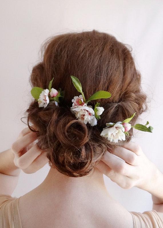 bridal hair flower flower hair pins wedding hairpiece pink ivory flower bridal hair clip wedding hair flowers hair accessories peony
