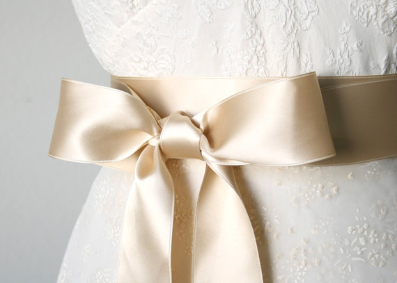 Champagne Bridal Belt Light Gold Bridal Sash Satin