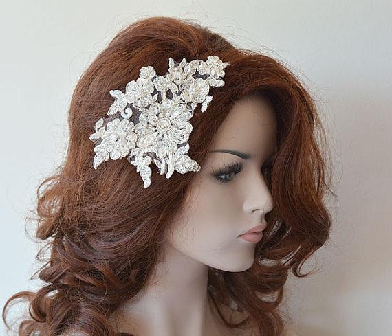 ivory lace wedding headband silver silvery lace bridal hair comb wedding headband bridal hair accessory wedding hair accessories