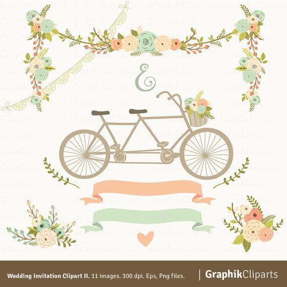 wedding invitation clipart ii floral garland tandem flowers bouquet laurels 11 images 300 dpi eps png files instant download 2319285 weddbook