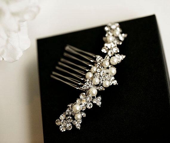 swarovski pearl and crystal hair comb rose gold bridal hair comb wedding accessory bridal hair clip wedding hair piece