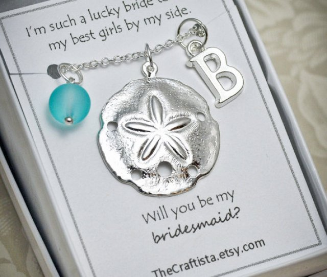 Personalized Bridesmaid Necklace Sand Dollar Necklace Bridesmaid Gift Bridesmaid Necklace Beach Wedding Bridesmaid Jewelry Sand Dollar