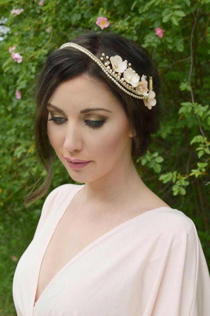 bridal headpiece, floral hair vine, flower hairpiece, cherry