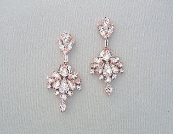 Wedding Earrings Chandelier Bridal Rose Gold Crystal Swarovski Crystals Jewelry Veda