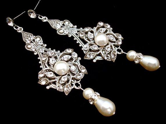 Bridal Earrings Pearl Wedding Jewelry Chandelier Vintage Style Antique Silver Ava